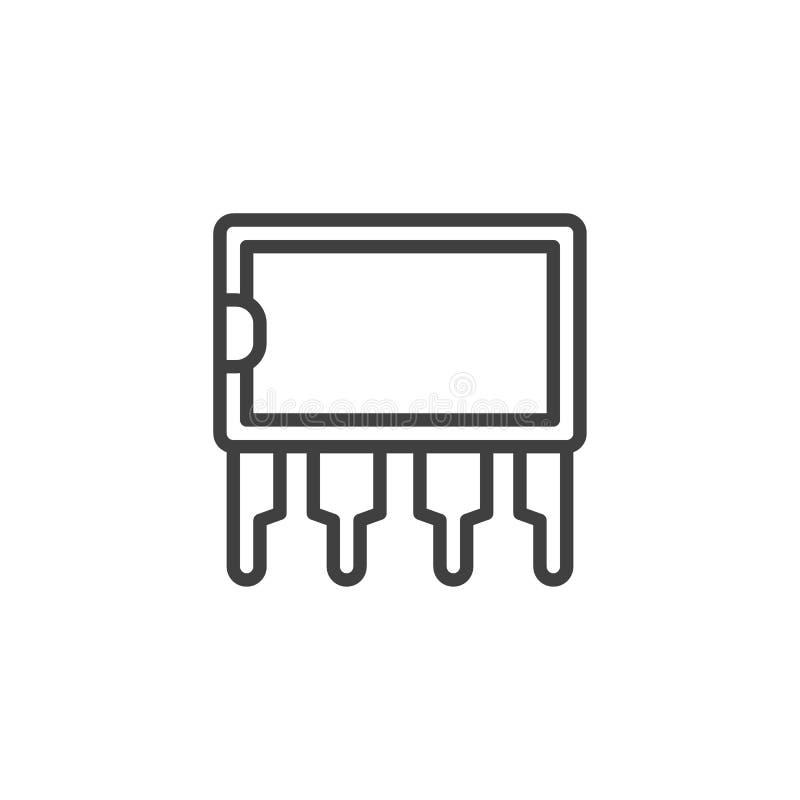 Transistormikrochipslinje symbol royaltyfri illustrationer
