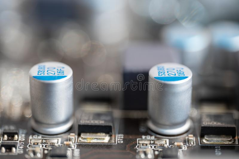 Transistors are on a micro circuit stock images