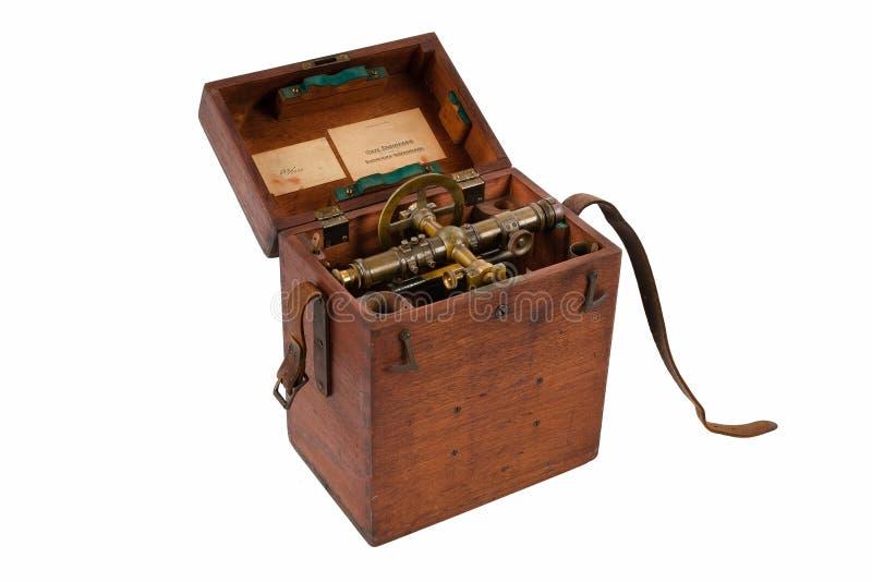 Transit de niveau de examen en laiton de cru, théodolite avec la boussole et patine en laiton âgée naturelle, dans sa boîte de ra photographie stock libre de droits