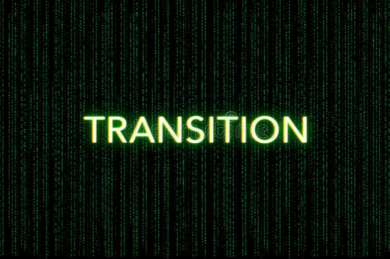 Transition, keyword of scrum, on a green matrix background royalty free stock photos