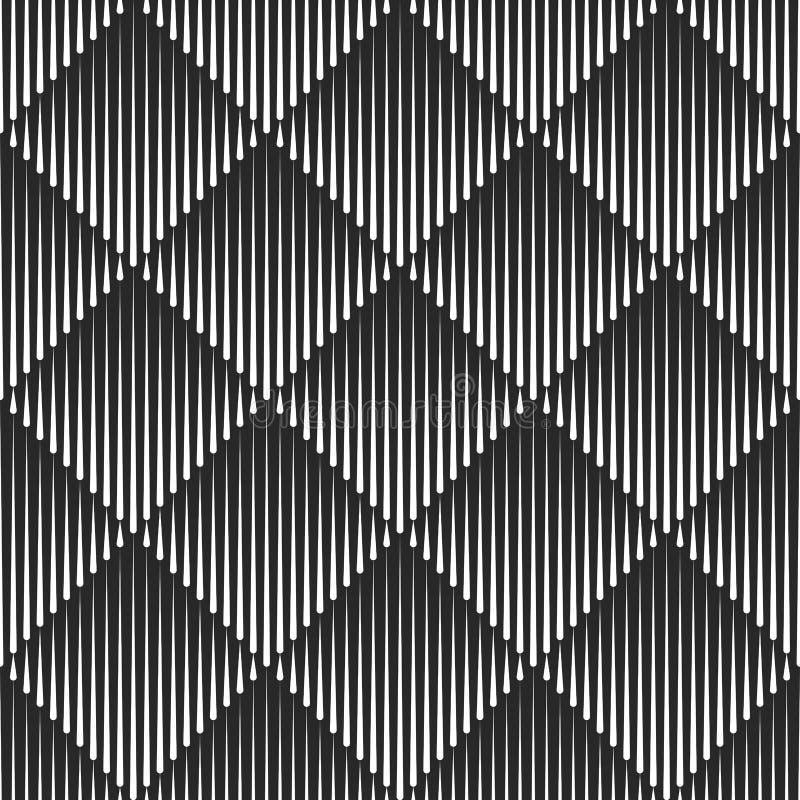 Transition rhombus shape texture diamond geometric seamless pattern, fade lines 3D illusion regular symmetrical geometry tiles. Background royalty free illustration