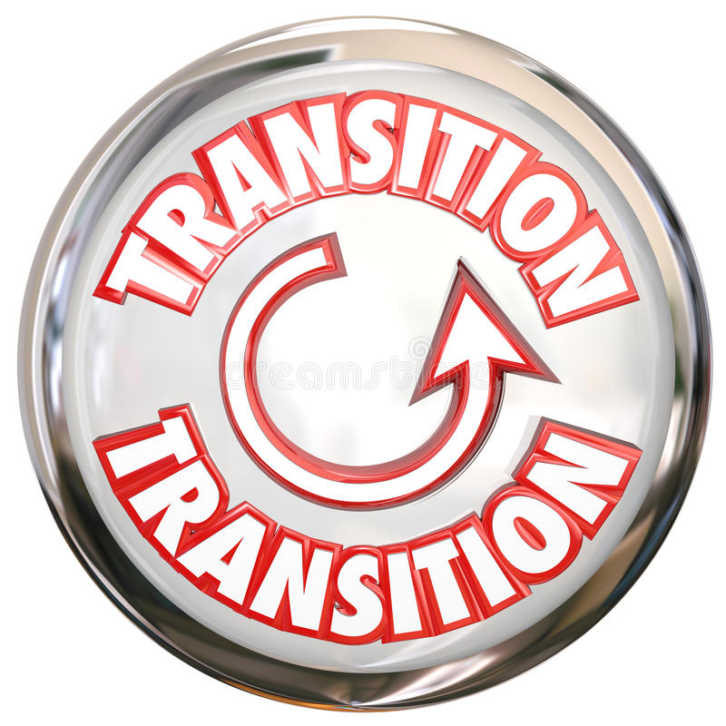 Transition Word White Button Icon Change Process Cycle stock illustration