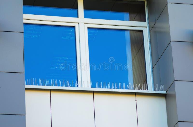 Transitoires d'Anti-oiseau sur des éléments de façade du bâtiment image libre de droits
