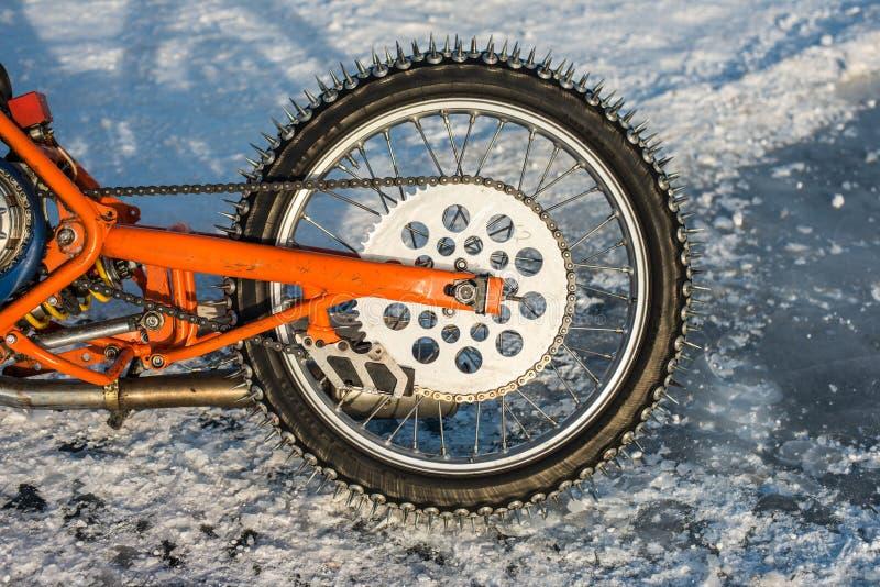Transitoires d'une motocyclette de speed-way de glace photos libres de droits