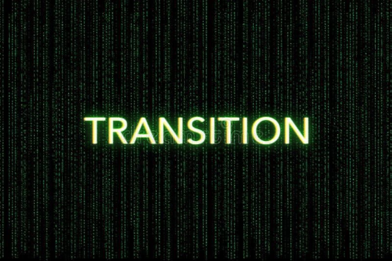 Transizione, parola chiave della mischia, su un fondo verde della matrice fotografie stock libere da diritti
