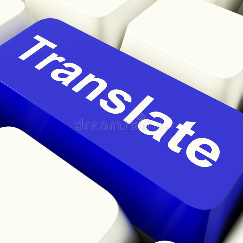Translate Computer Key In Blue Showing Online Translator. Translate Computer Key In Blue Showing Web Translator royalty free stock photography