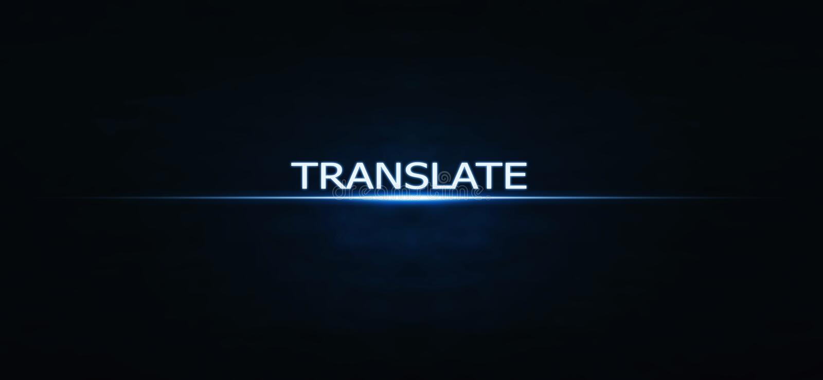 Translate word on blue light background. royalty free stock photos