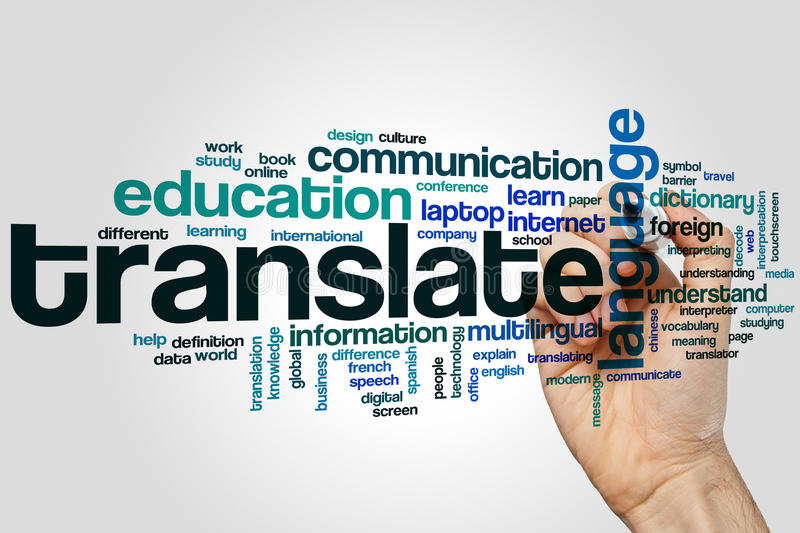 Translate word cloud. Concept on grey background stock images
