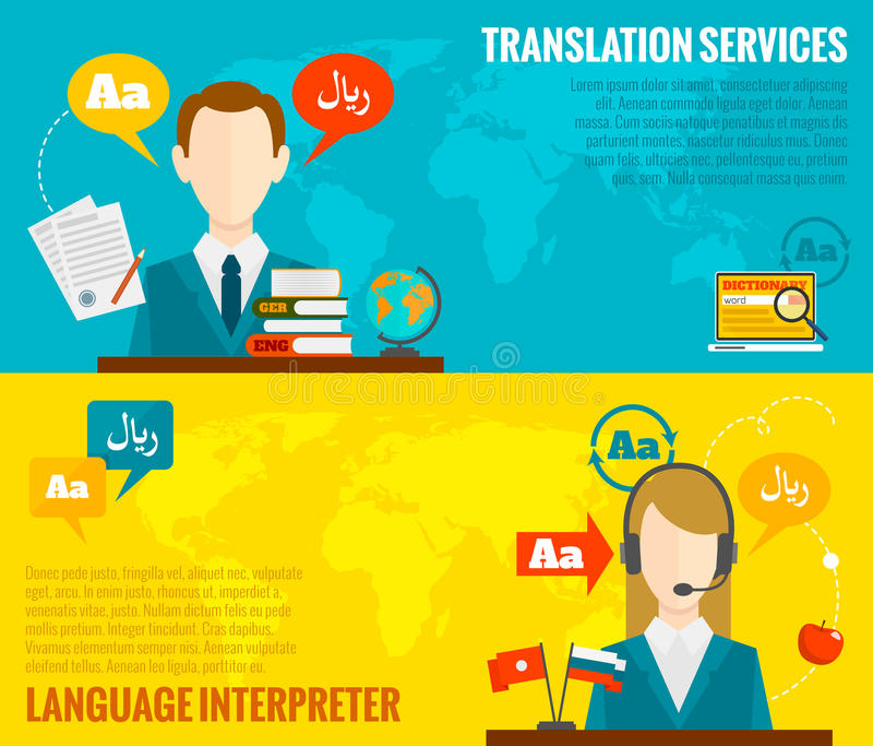 Translation and dictionary banners set flat royalty free illustration