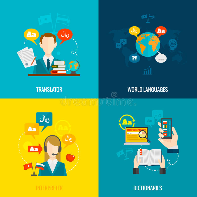 Translation and dictionary flat icons royalty free illustration