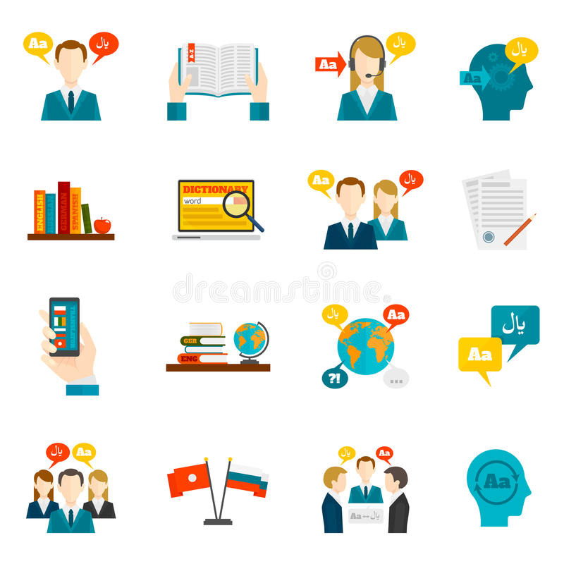 Translation And Dictionary Icons Set vector illustration