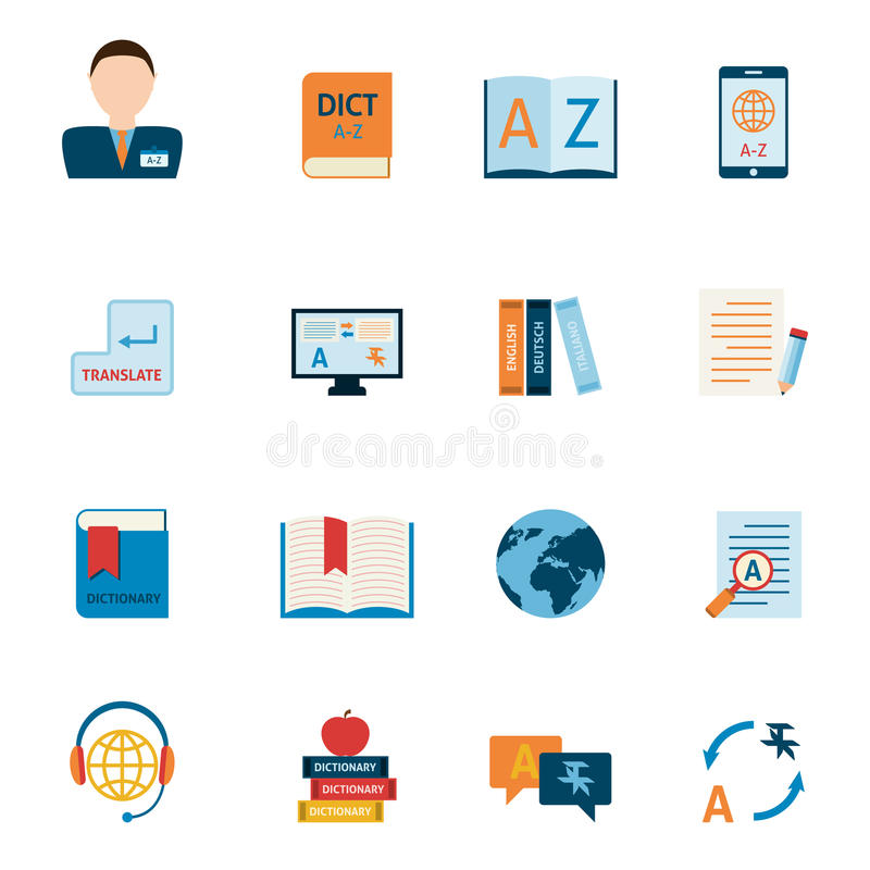 Translation and dictionary icons set. Interlengual synchronic translator mobile electronic device dictionary support alphabet apps flat icons set abstract royalty free illustration