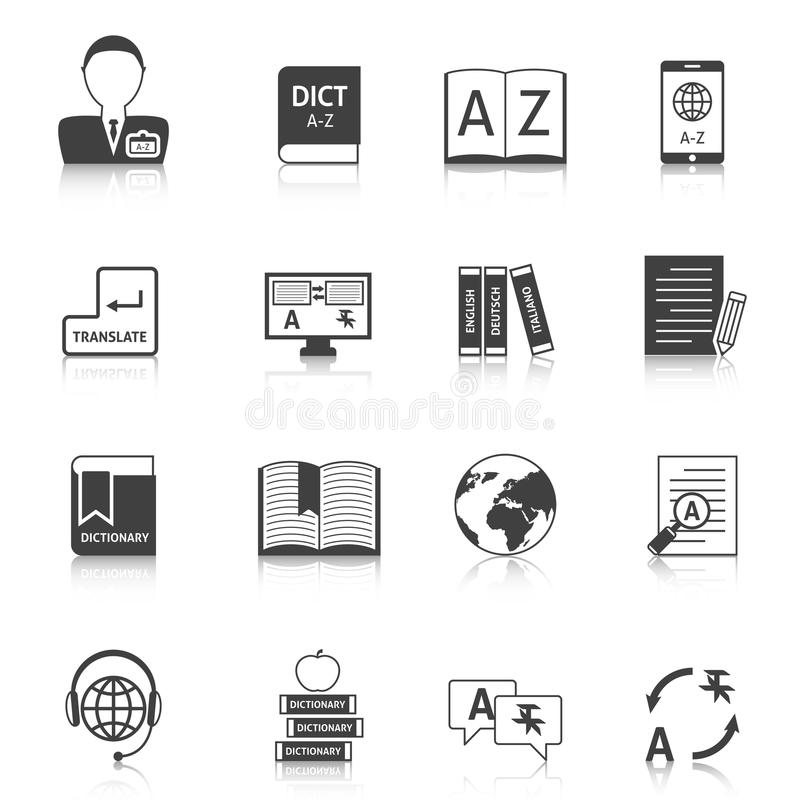 Translation and dictionary icons set. Official documents translation for legal equivalence and online english dictionary black icons collection abstract isolated vector illustration