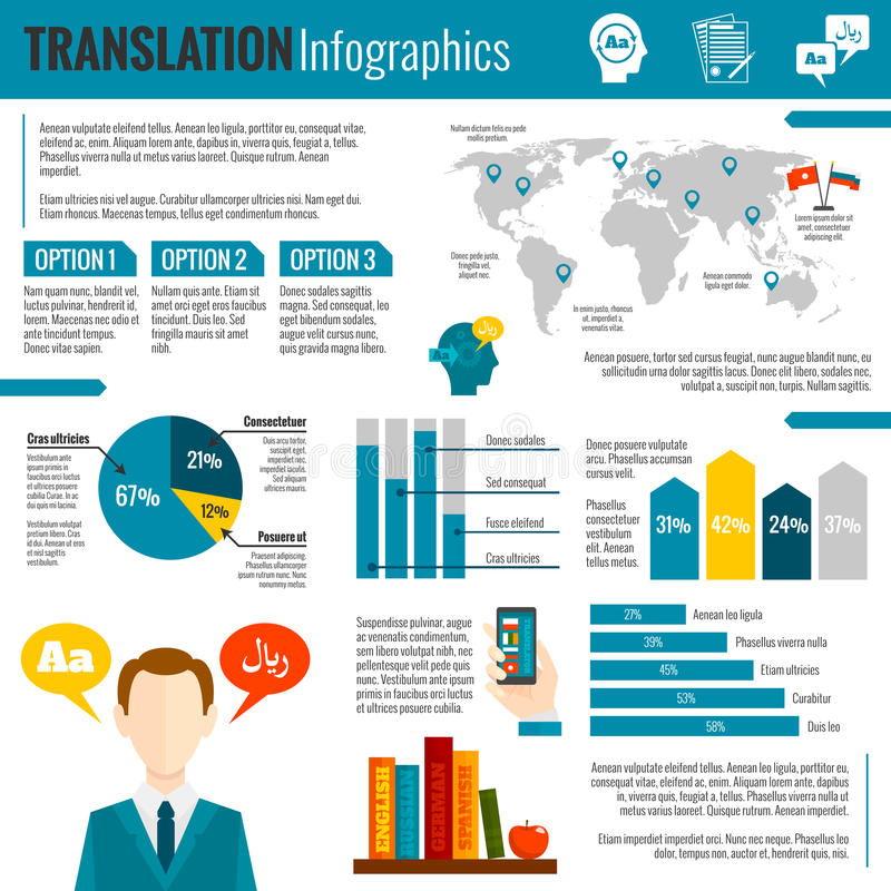 Translation and dictionary infographic report stock illustration