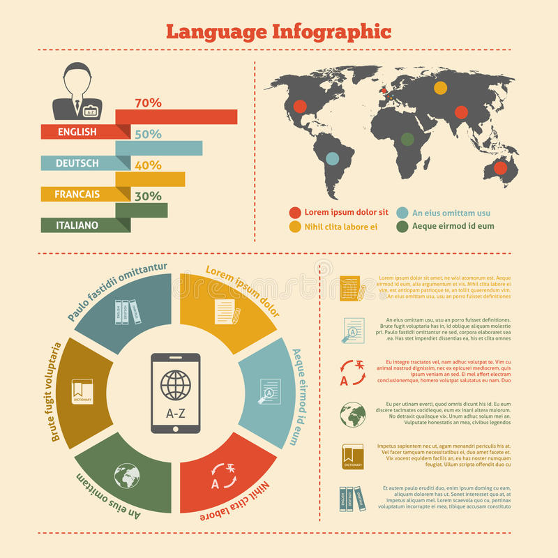 Translation and dictionary infographics vector illustration