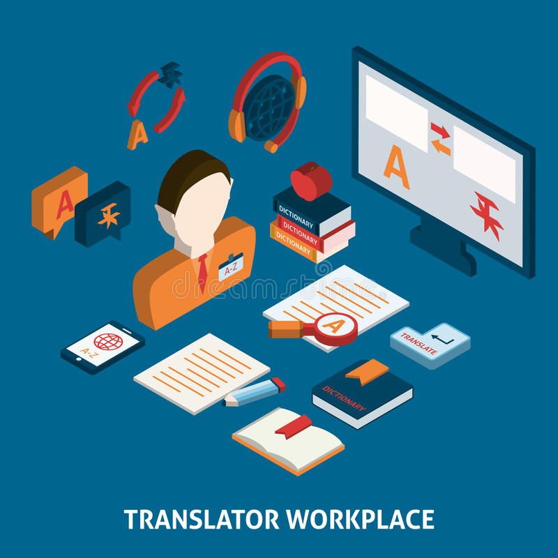 Translation and dictionary isometric poster print. Translator workplace isometric icons composition with computer dictionaries and mobile electronic devices stock illustration
