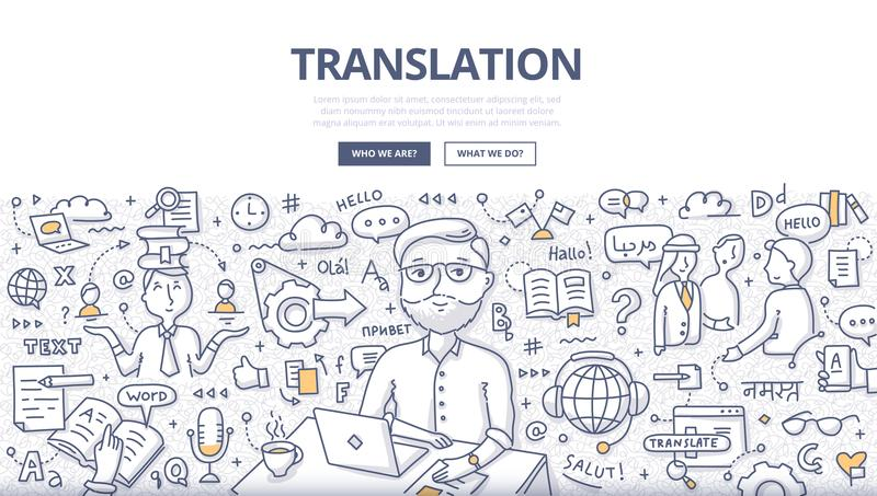 Translation Doodle Concept. Doodle vector illustration of translator at work. Concept of translating and interpreting for web banners, hero images, printed stock illustration