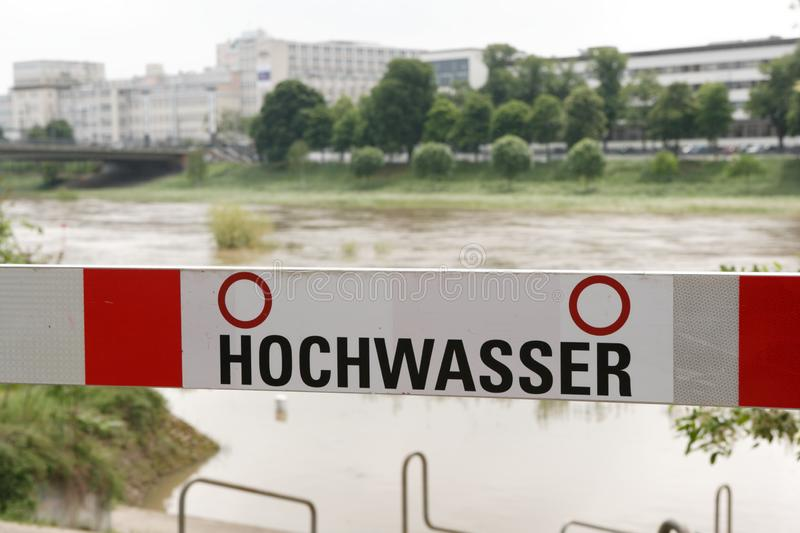 German road block sign, flood river Neckar in Mannheim. royalty free stock photo