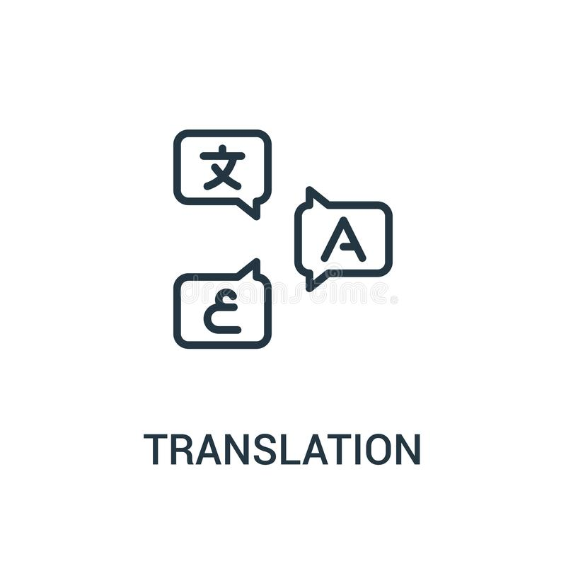 translation icon vector from translator collection. Thin line translation outline icon vector illustration. Linear symbol for use vector illustration