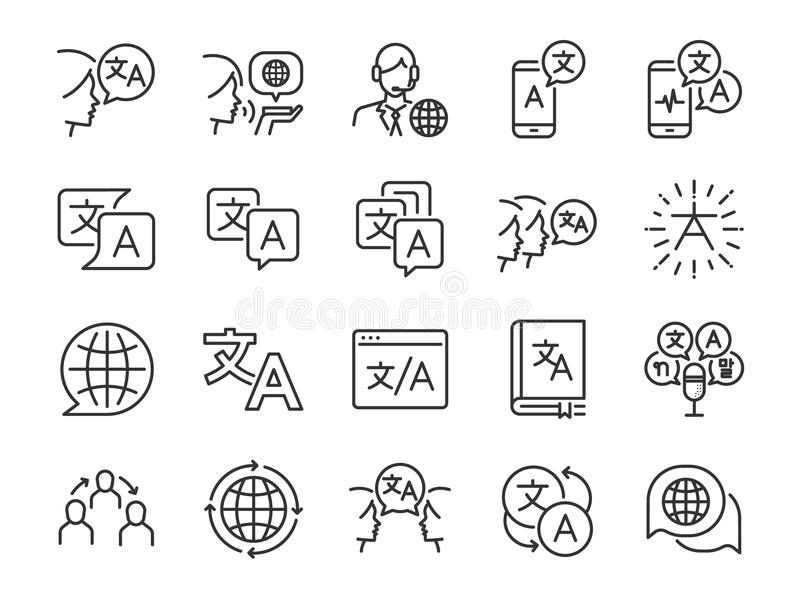 Translation line icon set. Included the icons as translate, translator, language, bilingual, dictionary, communication, bi-racial. Vector and illustration royalty free illustration