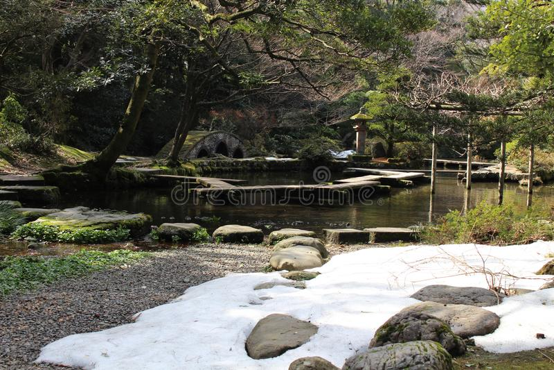 Translation: `Oyama Shrine`. It was covered by light snow royalty free stock photo