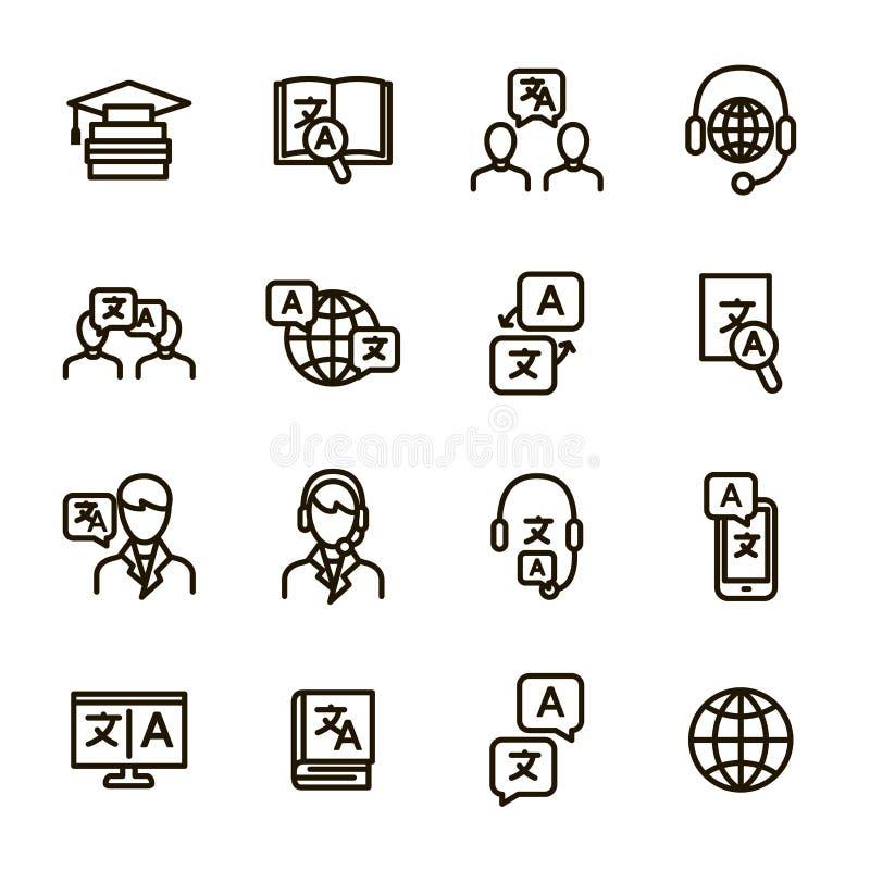 Translation Signs Black Thin Line Icon Set. Vector royalty free illustration