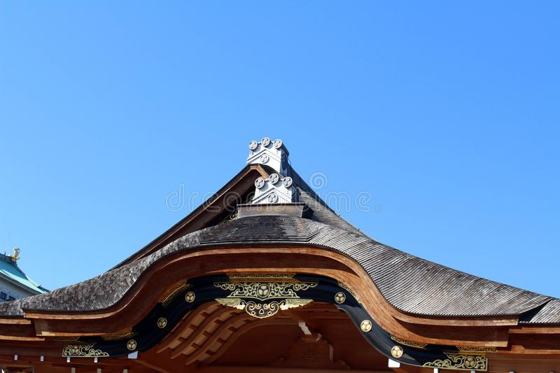 Translation: The temple around Nagoya Castle. Which was under construction. Taken in Nagoya, Japan - February 2018 stock image