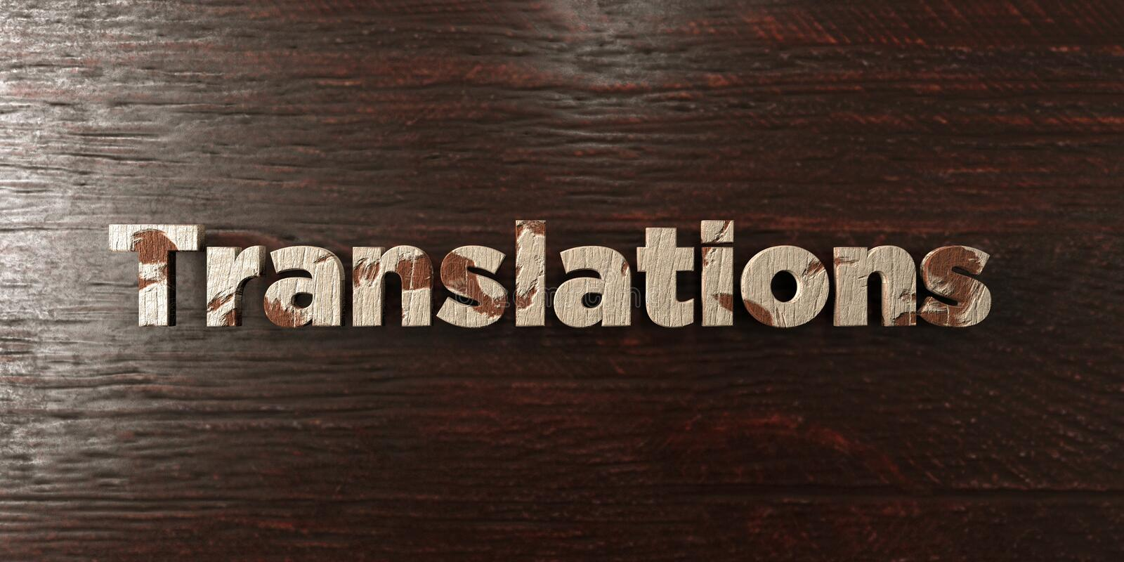 Translations - grungy wooden headline on Maple - 3D rendered royalty free stock image. This image can be used for an online website banner ad or a print vector illustration