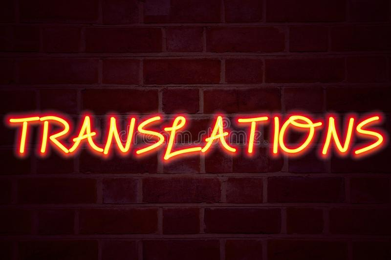 Translations neon sign on brick wall background. Fluorescent Neon tube Sign on brickwork Business concept for Translate Explain P. Lead Book Language 3D rendered royalty free stock photo