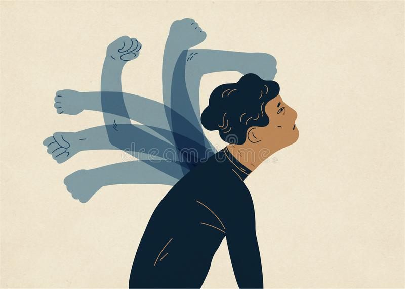 Translucent ghostly hands beating man. Concept of psychological self-flagellation, self-punishment, self-abasement, self. Harm guilt feeling. Colorful vector royalty free illustration