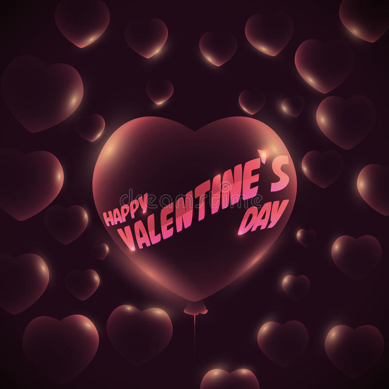 Translucent Glossy Balloon with Heart Shape and Valentine's Day Message, Vector Illustration royalty free stock photos