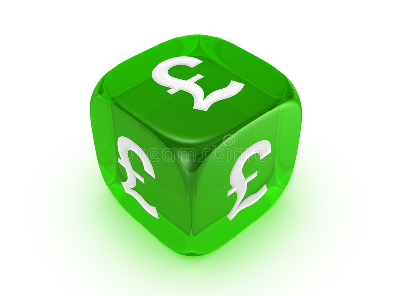 Translucent green dice with pound sign royalty free illustration