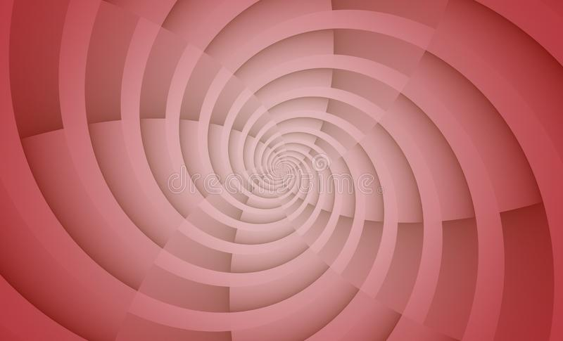 Translucent rose pink and white spinning spiral circles vortex abstract design background vector illustration