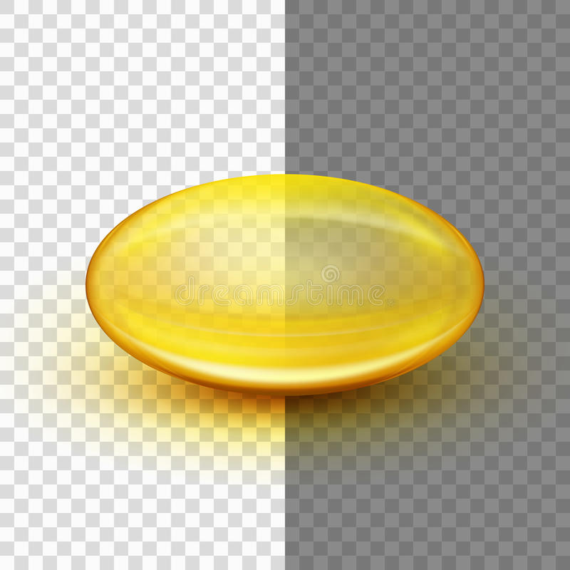 Translucent soft gel capsule. EPS 10. Translucent soft gel capsule object. Fish oil. And also includes EPS 10 vector royalty free illustration