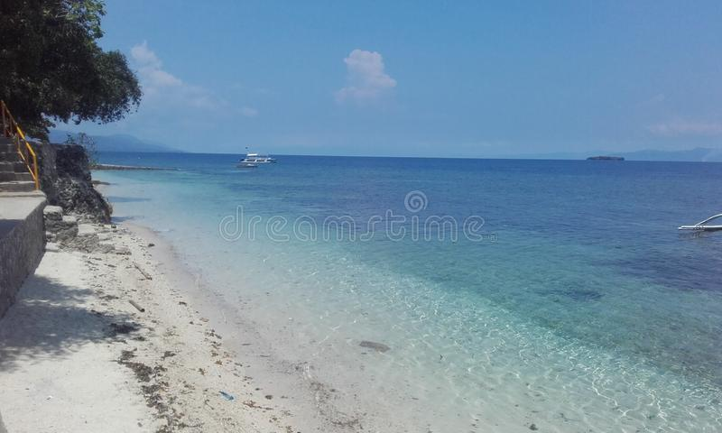 Translucent water Cebu island Philippines. Natural landscapes from Philippines Blue water with boat sunny natural day Cebu island Philippines stock photos