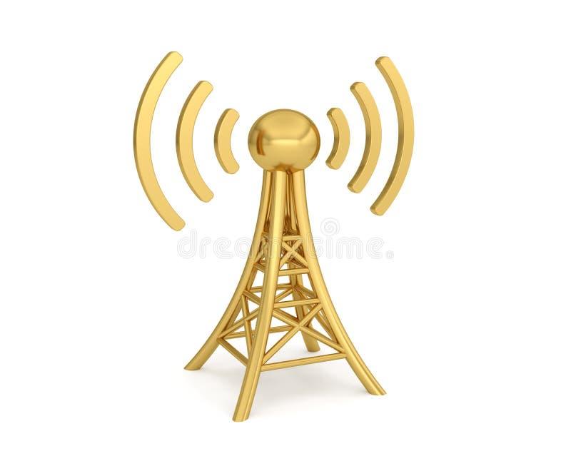 Transmisi?n inal?mbrica de la red 3G 4G 5G de la antena stock de ilustración