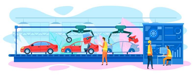 Transmisor de ensamblaje automático de automóviles de la línea de producción stock de ilustración