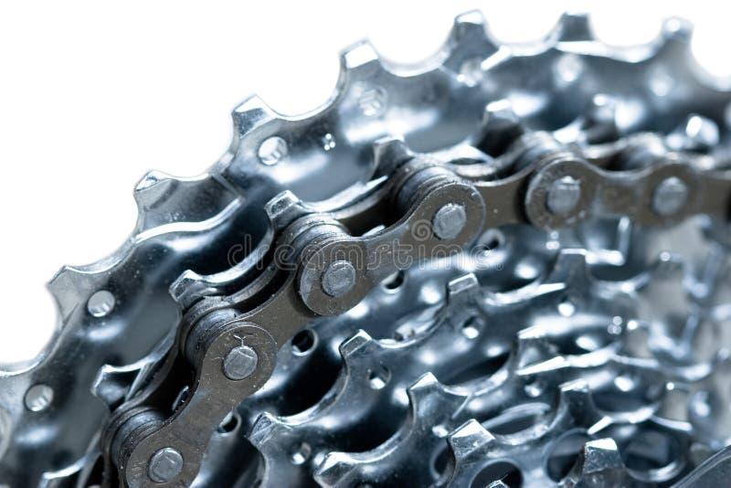 Transmissão - corrente e engrenagens da bicicleta imagens de stock royalty free