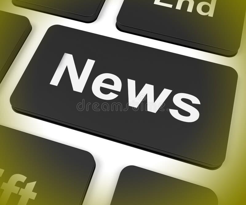 Transmissão do boletim de notícias das mostras da chave da notícia em linha ilustração do vetor