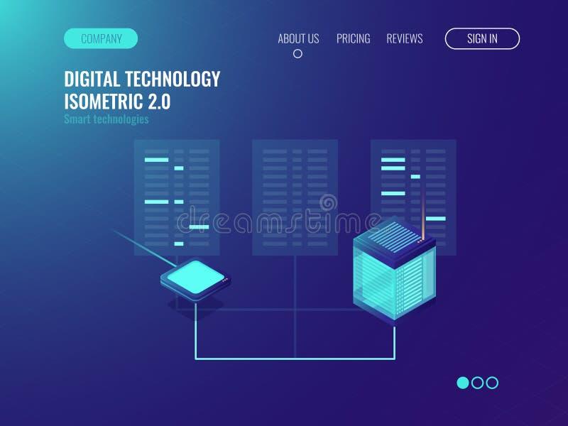 Transmissão e descodificação da informação em uma rede, processamento do bigdata, sala do servidor, base de dados e conceito do d ilustração royalty free