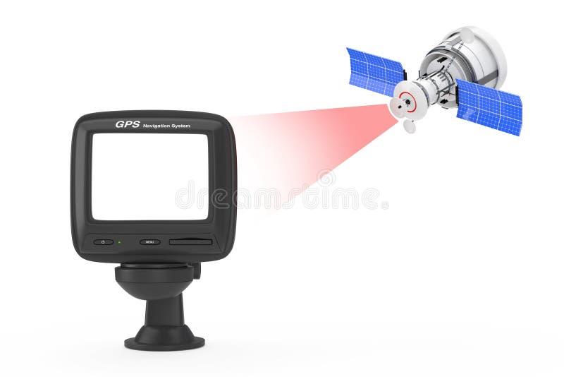 Transmissão satélite moderna ao dispositivo de GPS da navegação com placa ilustração stock