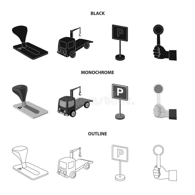 Transmissiehandvat, slepenvrachtwagen, het parkeren teken, eindesignaal Vastgestelde de inzamelingspictogrammen van de parkerenst stock illustratie