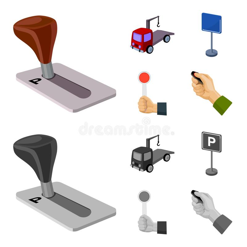 Transmissiehandvat, slepenvrachtwagen, het parkeren teken, eindesignaal Vastgestelde de inzamelingspictogrammen van de parkerenst vector illustratie
