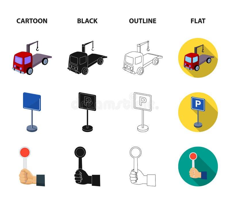 Transmissiehandvat, slepenvrachtwagen, het parkeren teken, eindesignaal Vastgestelde de inzamelingspictogrammen van de parkerenst royalty-vrije illustratie