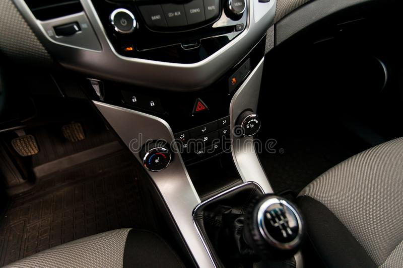 Transmission. Car interior from the inside. Close-up stock image