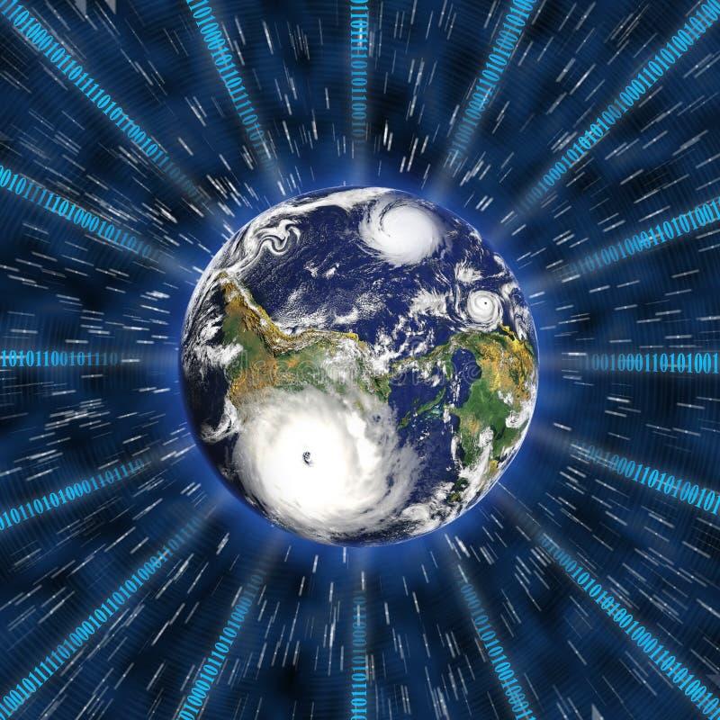 Transmission digitale de technologie sur terre illustration stock