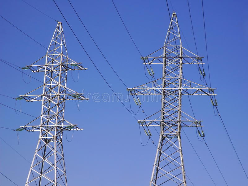 Transmission equipment on blue sky royalty free stock photos