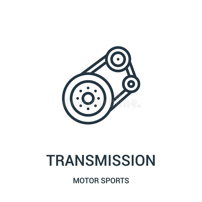 Transmission icon vector from motor sports collection. Thin line transmission outline icon vector illustration. Linear symbol. For use on web and mobile apps vector illustration
