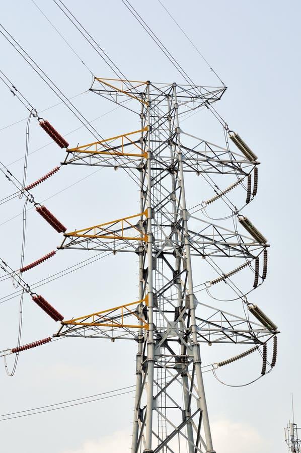 Transmission line. Isolated on white blue sky background royalty free stock photo