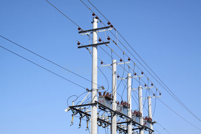 Transmission lines. In the blue sky royalty free stock photos